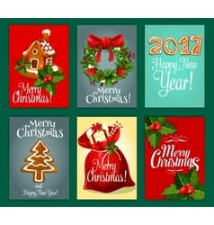 christmas gifts greeting card set for xmas design vector image