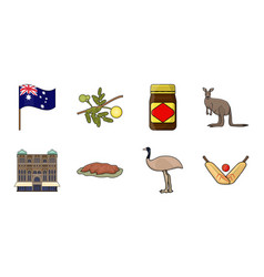 Country australia icons in set collection vector