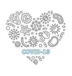 Covid-19 corona virus heart outline vector