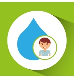 Cute boy eco water drop icon vector
