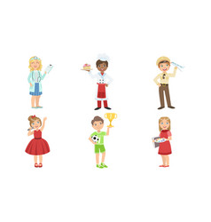Cute boys and girls various professions set vector
