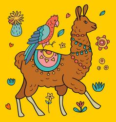 Cute llama and parrot vector