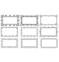 decorative rectangular floral frames set vector image