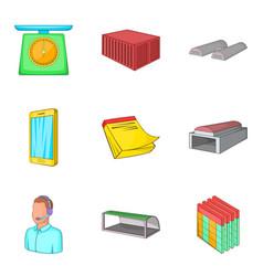 Depository icons set cartoon style vector