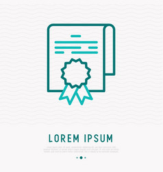 Document or certificate with stamp thin line icon vector
