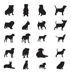 dog silhouettes set f 20 dog vector image