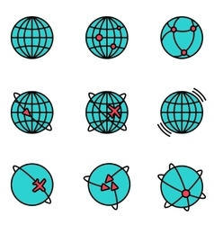earth global communication icons set vector image