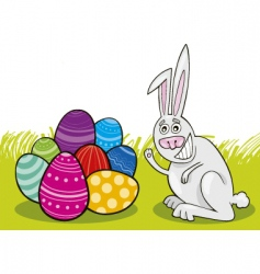 easter bunny with painted eggs vector image