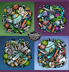 Epidemic cartoon doodle 4 vector