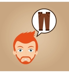 Face man bearded clothes brown pants hipster vector