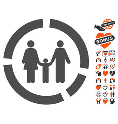 family diagram icon with love bonus vector image