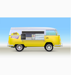 Fast food truck with equipment and bar counter vector