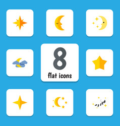 Flat icon bedtime set of starlet night nighttime vector
