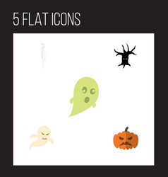 flat icon festival set of phantom ghost pumpkin vector image
