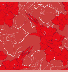 Flower seamless pattern from red gladiolus vector
