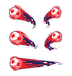 Football blue red and soccer symbols set vector