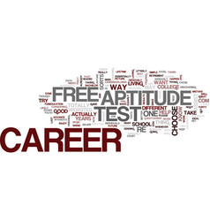 Free career aptitude test text background word vector