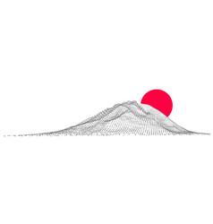 fuji japanese mountain minimal color vector image