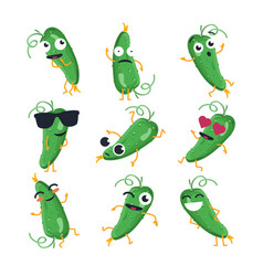 funny cucumber - isolated cartoon emoticons vector image