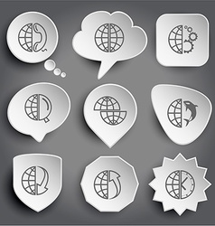 globe and phone and gears and magnifying glass vector image