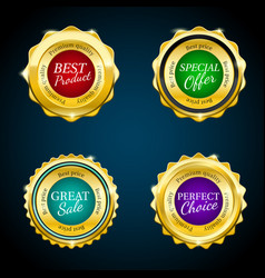 gold premium sale badges set colorful design vector image