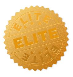Golden elite badge stamp vector