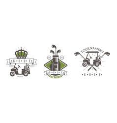golf tournament logo set club sport vector image
