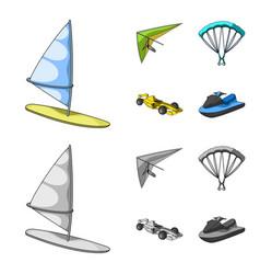 Hang glider parachute racing car water scooter vector