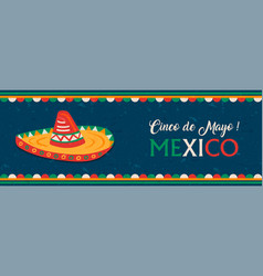 happy cinco de mayo mexican mariachi hat banner vector image