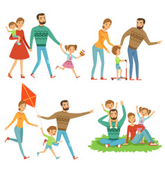 Happy family walking in park funny characters set vector
