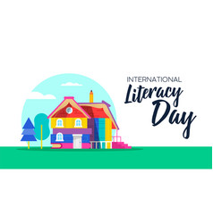 Happy literacy day book house concept for children vector