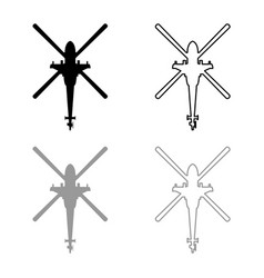 Helicopter top view battle helicopter icon vector