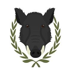 Hunting trophywild boar head in laurel wreath No vector