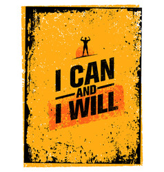 I can and i will sport gym typography workout vector