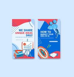 Instagram design template with book pen darts vector
