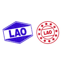 Lao unclean stamp seals in circle and hexagon vector