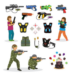 Laser tag fun game set in flat style gun vector