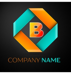 Letter B logo symbol in the colorful rhombus on vector image