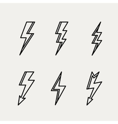 Lightning icon minimal linear contour outline vector image