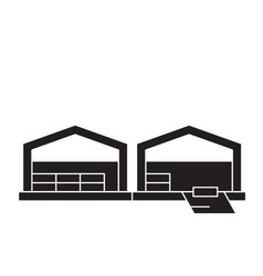 logistics warehouse black concept icon vector image