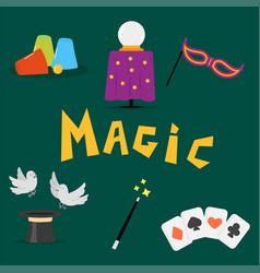 Magician tools art style gambler playful symbol vector
