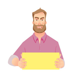 man holding blank paper vector image