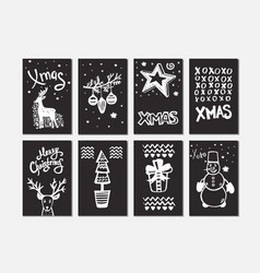 merry christmas collection handdrawn cards vector image