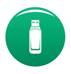 Mini flash drive icon green vector