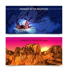 Mountains midnight and sunrise banners vector