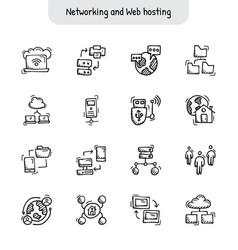 networking and web hosting hand drawn icons vector image