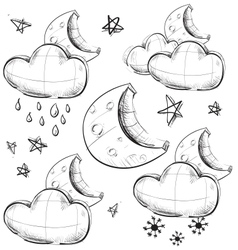 Night weather icons set vector image