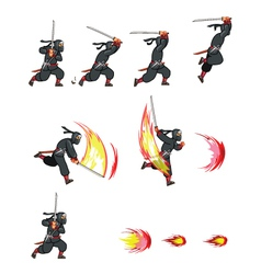Ninja Attack Game Sprite vector image