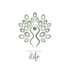 original life logo template with leaves and human vector image