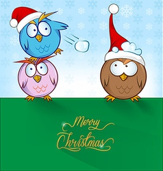Owl cartoon ON CHRISTMAS BACKGROUND vector